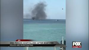 Caught on video: Boat Catches Fire at South Padre Island