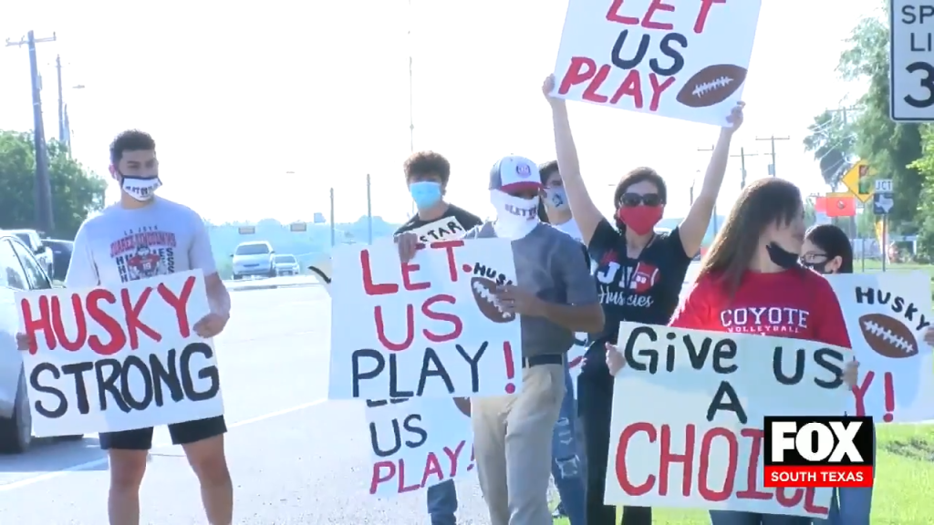 Parents and Student Athletes From La Joya ISD Protest For a Chance to Play Fall Sports