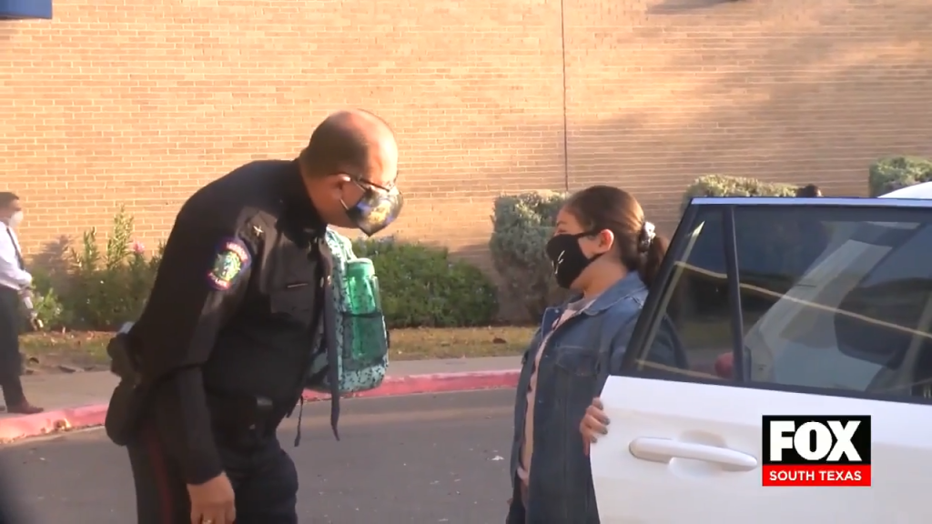 Mission PD Escorts Daughter of Fallen Officer to Her First Day of School